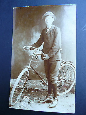 Real Photo RP Postcard showing Man with his Bicycle - Cycle Cyclist