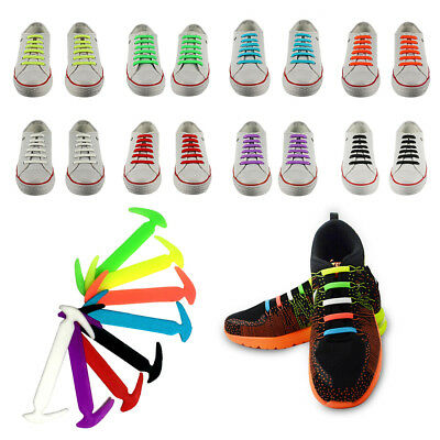 12pcs Cool Easy No Tie Shoelaces Elastic Silicone Flat Shoe Lace for Kids Adults