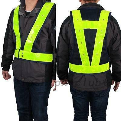 LED Reflective Safety Vest for Night Running Cycling High Visibility Hot
