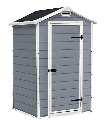Keter Manor Shed 4 x 3 Grey Cream Beige Brown Outdoor Garden Storage Plastic