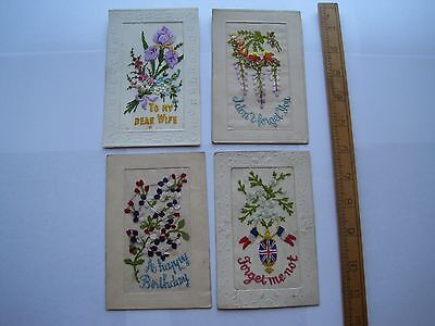 4 Original Ww1 Embroidered Silk Postcards,forget Me Not,lovely Condition