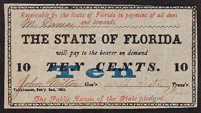 """1863 $0.10 """"State of Florida"""" Obsolete Note"""