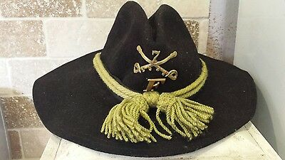 US Cavalry Indian Wars Campaign hat with insignia made in USA  7 1/4