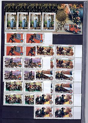 "2016, Block of 4+4 sheets "" BOMBEROS, FIREFIGHTERS"" -New, Mint"