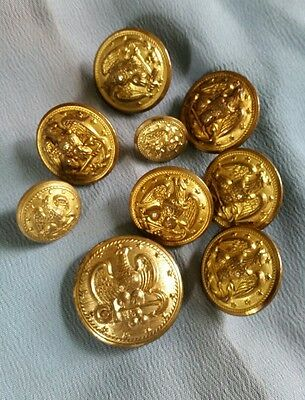 Vintage Lot Of 9 Wwii Us Navy Buttons - Wwii To Vietnam War.