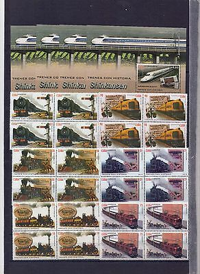 "2016, Block of 4+4 sheets- "" TRAINS WITH HISTORY, """