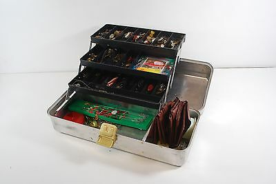 VINTAGE UMCO CORP ALUMINUM TACKLE BOX with FISHING MATERIAL