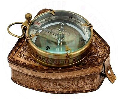New Vintage Maritime Antique Brass  Map Reader And Compass With Leather Case