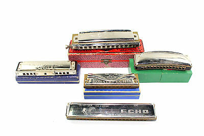 Collection of 5 x Vintage HOHNER & KOCH Mixed Harmonicas, Most BOXED
