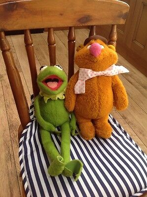 Vintage Fisher Price Fozzie Bear & Kermit Plush Soft Toys The Muppets 1970s