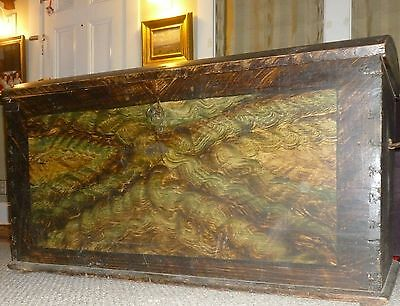 Large 18th Century Immigrant Trunk Chest Grain Painted Original Key Working Lock