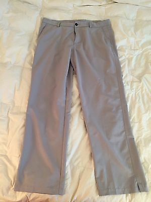 ADIDAS ClimaLite Men's Flat Front Light Grey Performance Golf Pants 34 x32