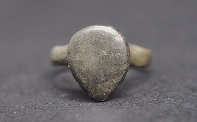 Medieval Bronze Shield Shaped Ring 13Th - 15Th Century Ad