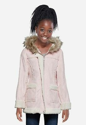 NWT Justice Kids Girls Size 6/7 or 8/10 Pink Sherpa Faux Fur Winter Coat Jacket