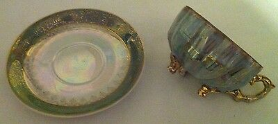 Royal Sealy Tea Cup &Saucer-Green,Gold,Irredescant -3 footed- made Japan- 89/5C