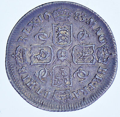 1683 Sixpence British Silver Coin From Charles Ii Gvf+