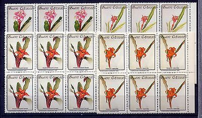"BRASIL 1992, Block of 6""  FLORES, FLOWERS, FLORA """