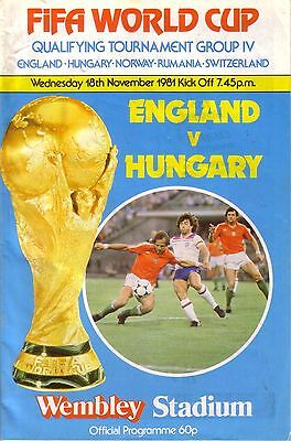 ENGLAND v HUNGARY 1981 WORLD CUP QUALIFIER