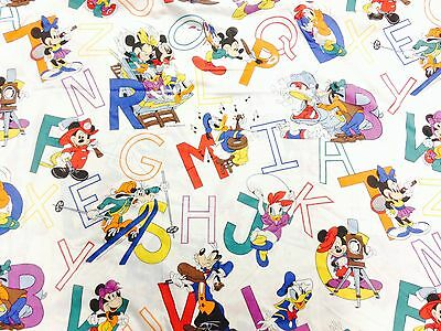 Vintage Mickey Mouse ABCs TWIN Sheet Set Flat Fitted  Fabric Crafts DISNEY