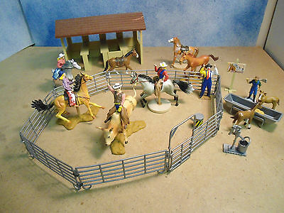Horse Ranch W/bull Rider, Cowgirls W/ Horse's,  Corral, Stable, Clown
