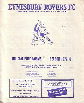 EYNESBURY ROVERS v BOURNE TOWN + LONG BUCKBY 1977/78 UNITED COUNTIES LEAGUE