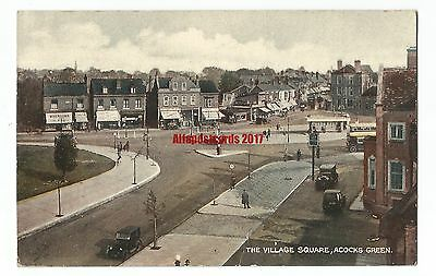 Warks The Village Square Acocks Green Birmingham Vintage Postcard 21.6