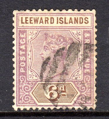 Leeward Islands QV 1890  6d Dull Mauve & Brown SG5 Used