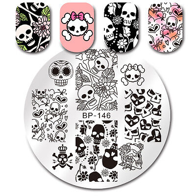 Stamping Plate Skull Flower Heart Manicure Nail Art Image Plate BORN PRETTY