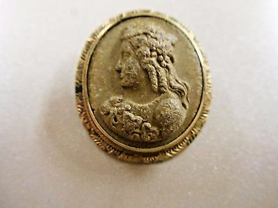 """Vintage Lava Cameo. Small. Gold Filled. Brooch 1"""" x 3/4"""""""