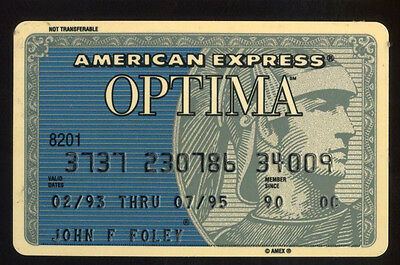 AMERICAN EXPRESS Optima hard plastic Credit Card expired July 1995
