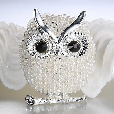 Crystal Diamante Sweet Owl Shape Brooch Pin Bridal Pearl Inlay Bouquet Jewellery
