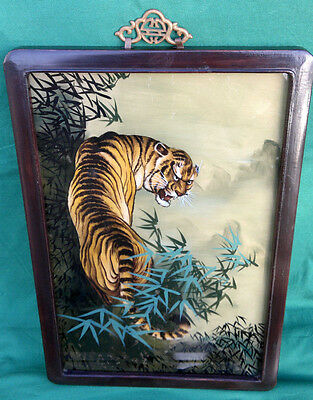 "Vintage Chinese Reverse Painting on Glass of Tiger 20.25"" by 13.75"""