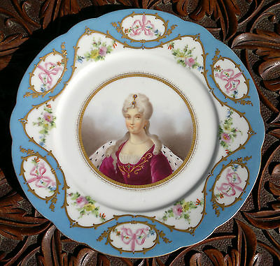 Antique Sevres Hand Painted Portrait Plate- Duchess du Berry 1798~1870