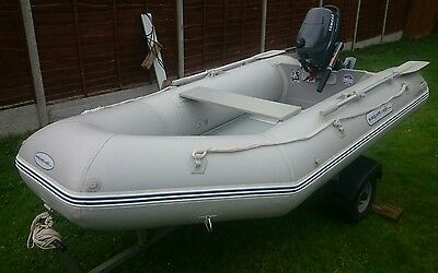 inflatable dinghy 2.9, yamaha 4 Hp four stroke, trailer,outboard trolly.