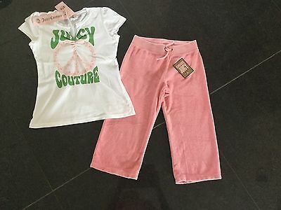 NWT Juicy Couture New & Gen. Girls Age 8 Pink Cotton Pants & Matching T-Shirt
