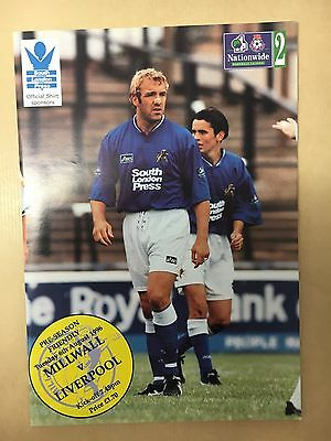 Millwall V Liverpool 1996/1997 96/97 Friendly Match Programme