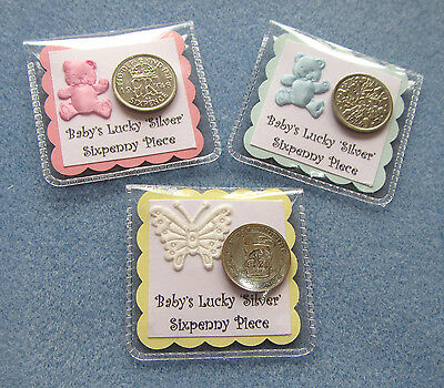Lucky 'Silver' Sixpence Gift. New Baby*Baby Shower*Christening*Girl*Boy*Neutral