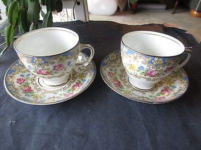 Two Old Royal China Footed Tea Cups And Saucers-England 2859