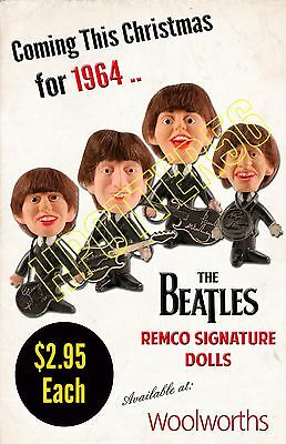 The Beatles 1964 Remco Signature Dolls Store Display Repo Poster