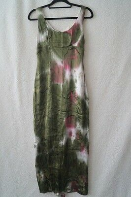 Vintage 90s grunge tie dye green hippy boho festival dress 6-8