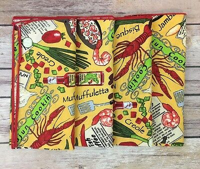 Set of 4 Dinner Lunch Cloth Napkins Party Cajun Cooking Lobster Gumbo Crawfish