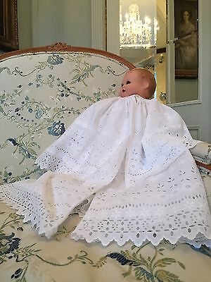 Antique Christening coat circa 1900 cape collar Embroidery Very good condition
