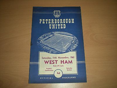 Peterborough United V West Ham Res 11/11/1961 Football Programme (Martin Peters)