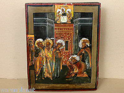 OLD ANTIQUE RUSSIAN ICON APPEARANCE MOTHER GOD SERGIUS RADONEZH INSCRIBED 18th C