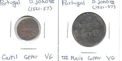 Portugal ND D. JOAO(1521-1557) Ceitil & III Reis 2 Copper Coins Both VG