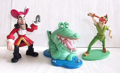 DISNEY PETER PAN withTICK TOCK CROC & CAPTAIN HOOK - FIGURES - TOYS/CAKE TOPPERS