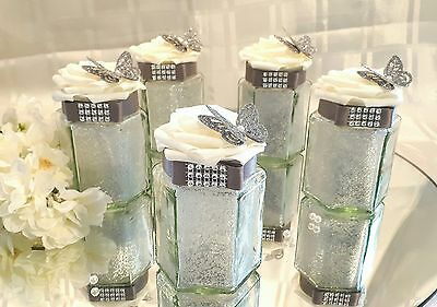 5 x  Silver & Ivory Hexagol glass Wedding Centerpieces/Table Decorations.