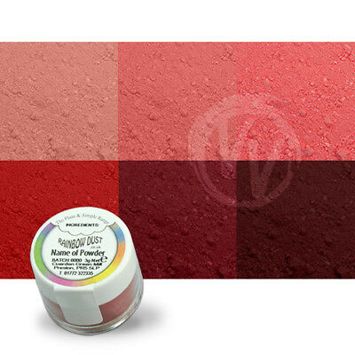 Rainbow Dust Pinks and Reds Plain and Simple - Set of 6 - Edible Cake Powder