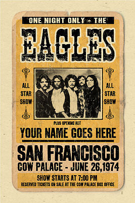 your name on an EAGLES concert poster! personalized gift - vintage look