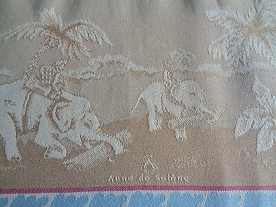 Damask Towel  Elephant & Palm Tree Scene  Embroidered  'h'